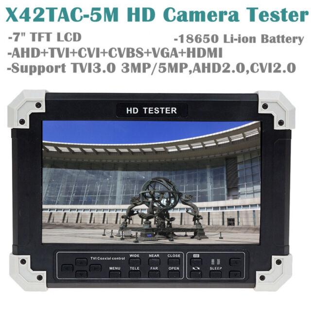 """X42TAC-5M 7""""LCD HD-TVI3.0+AHD2.0+CVI+HDMI+VGA+CVBS Camera Video Monitor Tester"""