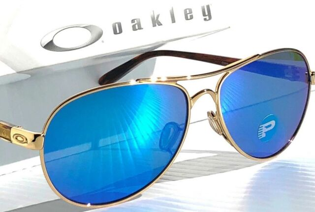 9c1177898e NEW  Oakley TIE BREAKER GOLD Aviator POLARIZED Sapphire Blue Sunglass  4108-15