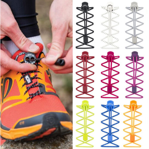 No Tie Shoelace Nathan Lock Laces Elastic Shoe Boot Trainer Fastening System