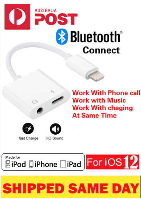 Apple Bluetooth 2in1 Adapter Lightning+3 5mm Jack Earphones For iPhone  X/8/7Max