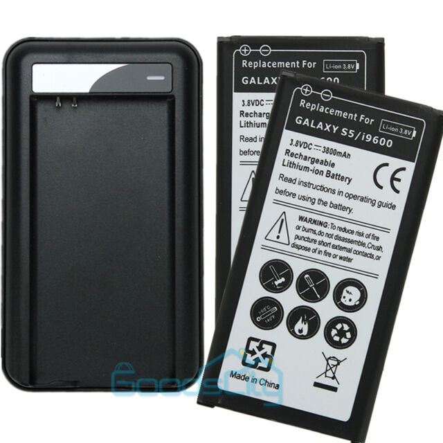 2x 3800mAh Extended Battery Replacement+USB Charger For Samsung Galaxy S5 I9600
