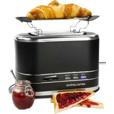 Andrew James Lumiglo Black 2 Slice Toaster With Warming Rack