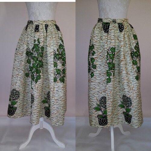 Tribal  Ethnic African Print Handmade Pleated Skirt Green Pot Print  M(UK10-12)