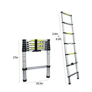 6.5FT Aluminum Multi-Purpose Telescopic Ladder Extension Loft Steps Tall EN131