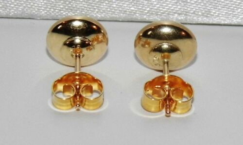 9ct Gold 7mm Button Stud Earrings Pair ~ 375 ~ Solid 9K Gold 1