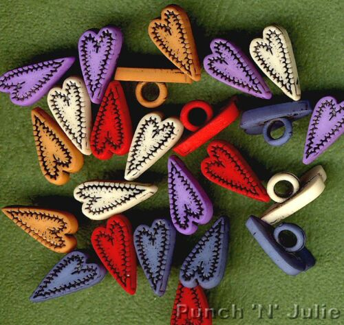 FOLK HEARTS Red Blue Cream Lilac Orange Stitch Sewing Themed Craft Buttons