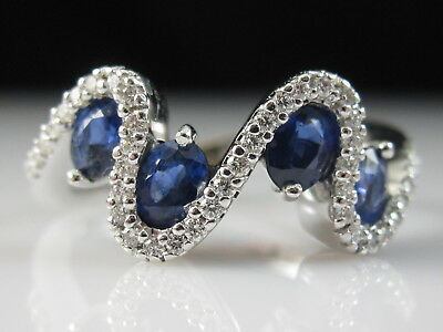 18K Sapphire Diamond Ring Wave White Gold Oval Blue Modern Fine Jewelry Size 4.5