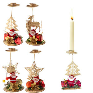 Details About Christmas Cartoon Candlestick Xmas Candle Tea Light Holders Stand Ornaments