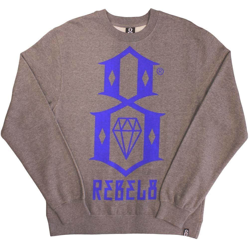 Rebel8 Logo Sweatshirt Sweatshirt Sweatshirt Gun Metal Heather 8dbf6c