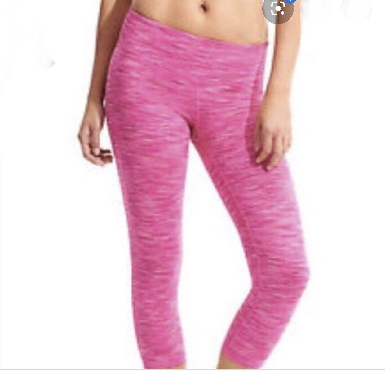 Athleta Chaturanga Capri KLEIN S Pink Space Dye Hose Gekürzt Leggings Eng