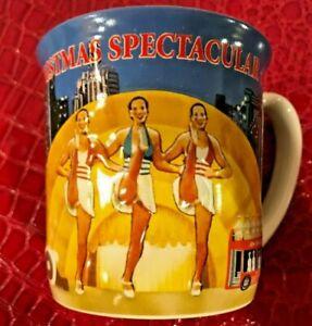 VINTAGE-Radio-City-MUSIC-HALL-Christmas-Rockettes-Embossed-Coffee-LARGE-Cup-Mug