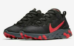 Nike-React-Element-55-Black-Solar-Red-Pink-Cool-Grey-Running-Men-039-s-BQ6166-002