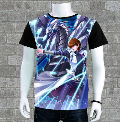 Anime Yu Gi Oh Seto Kaiba Cosplay T-shirt Short Sleeve Casual Black TEE S-3XL#
