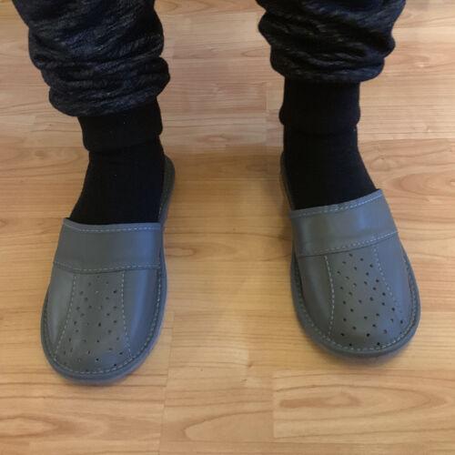 Dark Grey Mules Air circulation holes leather men healthy natural man slippers
