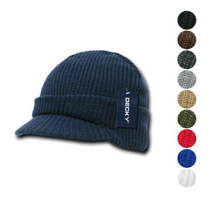 Decky Crocheted Beanies GI Jeep Caps Hats Visor Ski Thick Warm Winter Unisex