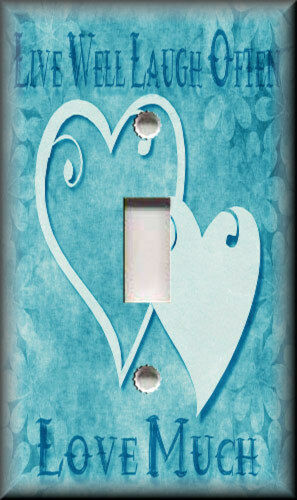 Aqua Blue Home Decor Live Laugh Love Hearts Light Switch Plate Cover