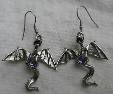 Flying Dragon Earrings,pewter,purple set,3D,French earwires -fantasy,creature #2