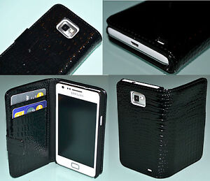 Croc-Style-Black-Flip-Leather-Wallet-Case-for-Samsung-Galaxy-S2-i9100-Hold-Cards