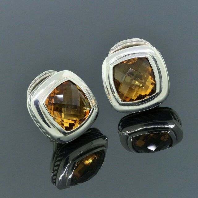 David Yurman 925 Sterling Silver 11mm Yellow Citrine Cable Albion Earrings