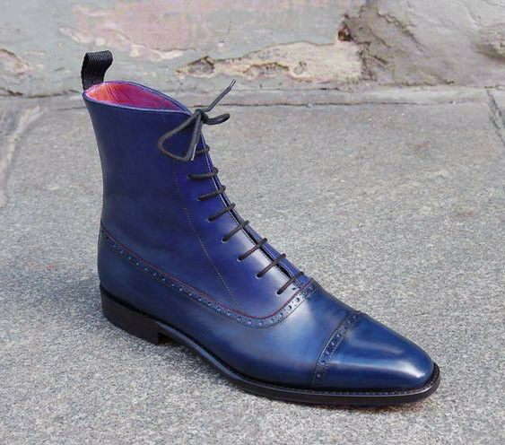 Navy Cap toe genuine leather Boots, Ankle High boot, Dress leather boots
