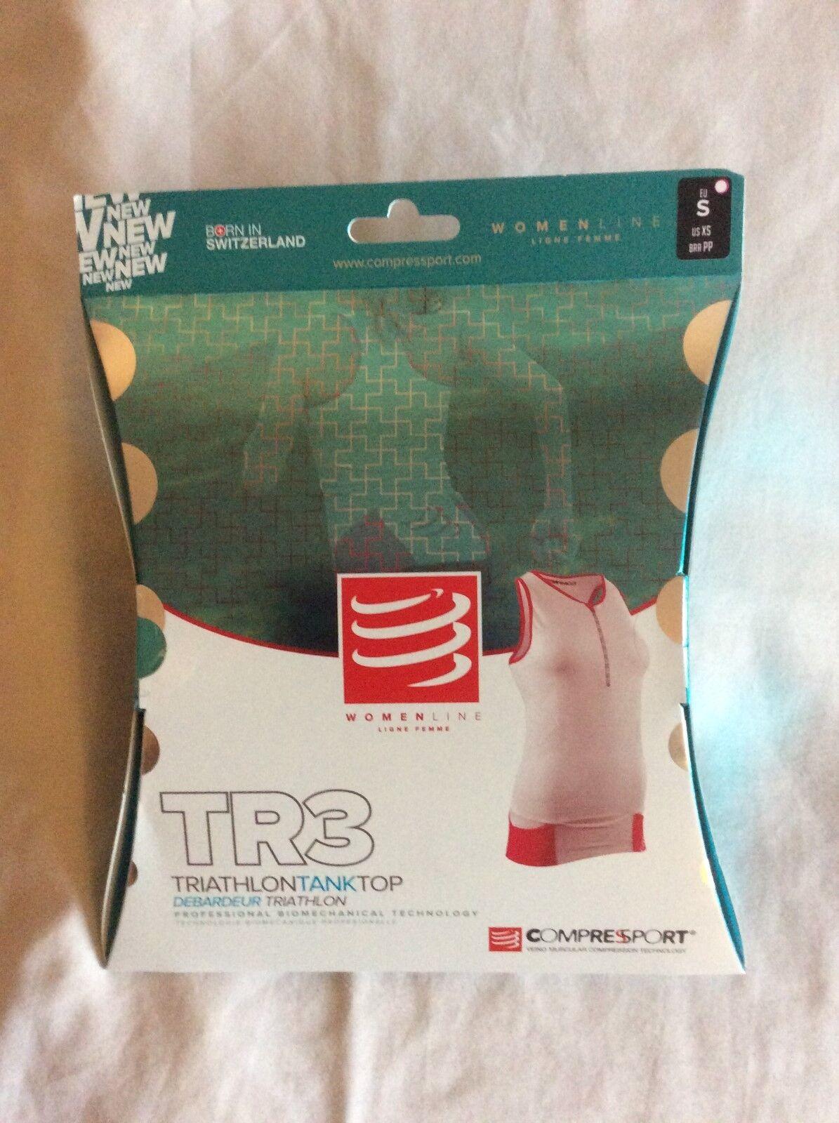 New Compressport Women Triathlon TR3 Tank Top White size Large