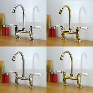 ENKI-Traditional-White-Lever-Bridge-Taps-Kitchen-Sink-Mixer-Brass-KINGSBURY