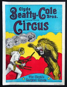 Old Original Clyde Beatty Cole Bros Circus Poster Vintage 1980/'s Roland Butler