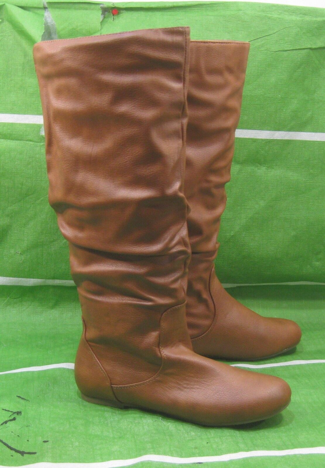 New ladies Womens Tan Flat Slouch Knee Sexy Boots  ELASTIC Size 7.5