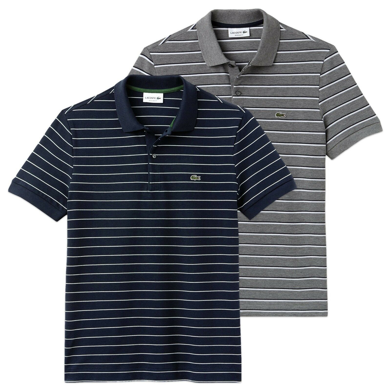 Lacoste Polo Shirt - Lacoste PH3105 Regular Fit Striped Pique Polo Shirt - BNWT