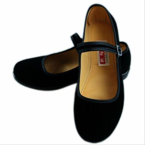 Women Mary Jane Shoes Chinese Beijing Cotton Sole Black Ballet Dance Lady Shoes