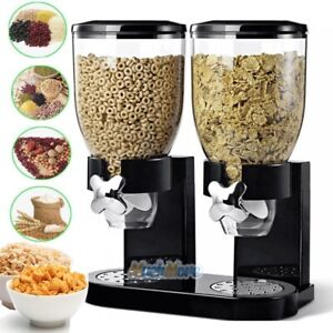 Double Chamber Dry Food Cereal Dispenser Airtight Kitchen Storage Twin Container