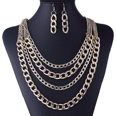 New Fashion Design Gold Tassels Chain Statement Bib Chunky Necklace Earrings Set