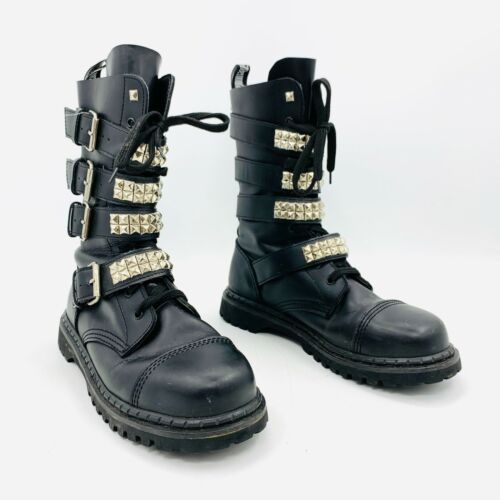 Demonia Black Studded Buckle Boots Mens Size 12