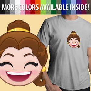 Belle-Happy-Smile-Emoji-Cute-Funny-Unisex-Mens-Tee-T-Shirt-Beauty-amp-Beast-Disney