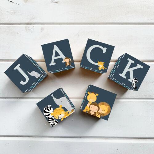 WOODEN NAME BLOCKS CUSTOM Personalised Letter Block Jungle Navy Nursery Boy