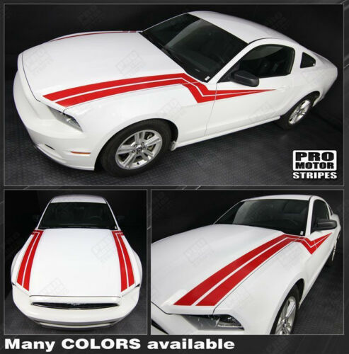 Choose Color Ford Mustang 2013-2014 Hood to Side Thunderbolt Stripes Decals