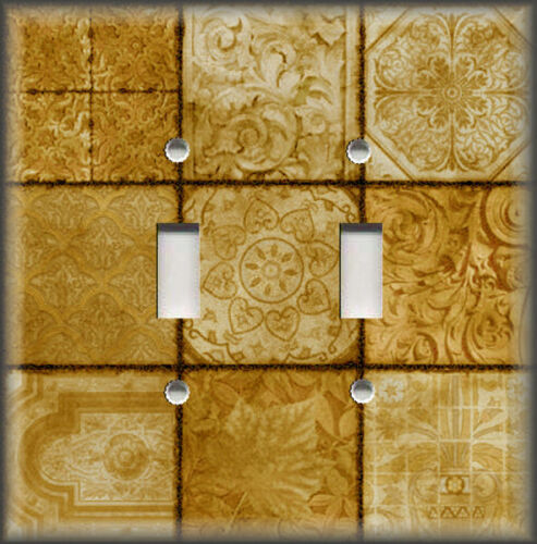 Tuscan Tile Mosaic Home Decor Gold Yellow Decor Metal Light Switch Plate Cover