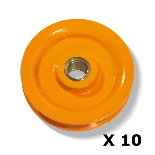 10 x Wire Rope Sheave 125mm for 10mm Wire Yellow enamel finish Rigging