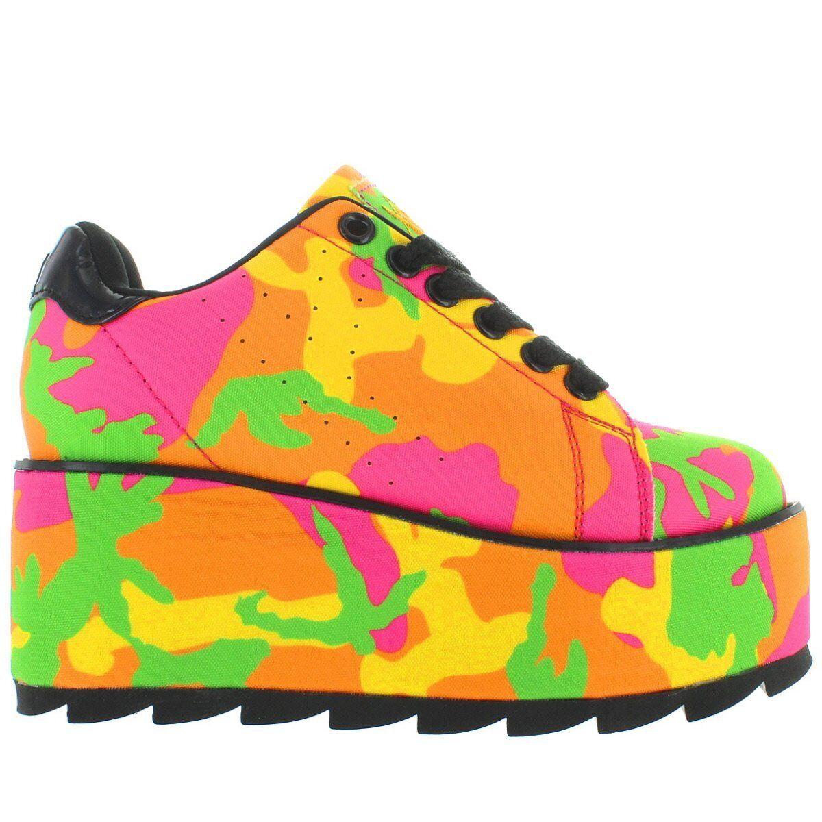 YRU Lala - Neon Camo Mega Platform Wedge Lace Sneaker