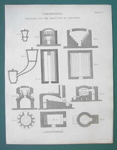CHEMISTRY-Furnaces-for-Reduction-of-Antimony-1820-ABRAHAM-REES-Print
