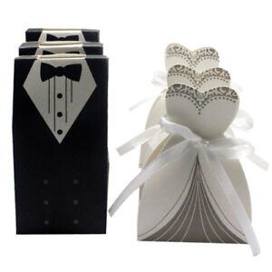 100x-Robe-amp-Tuxedo-mariee-marie-Mariage-Faveur-Ruban-Candy-Bomboniere-Boites-cadeaux