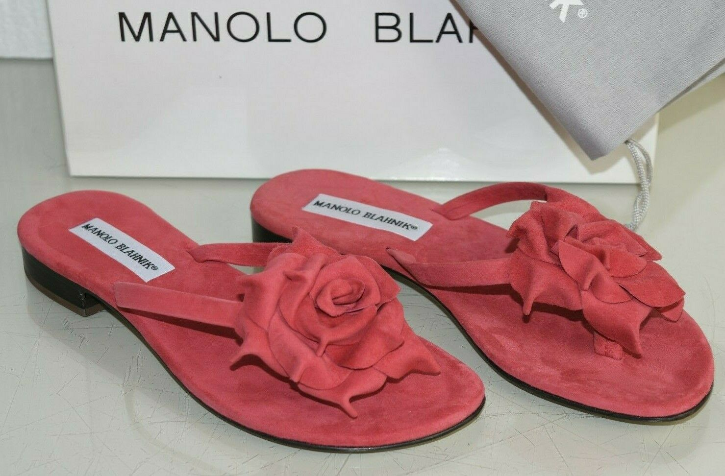 735 New Manolo Blahnik Patricia Thong Flat Sandals Coral Red Suede shoes 36