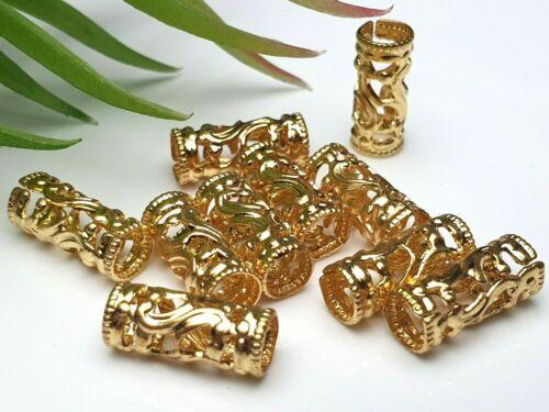 10 X Metall zwischen Perlen vergoldet Walze Zylinder groß Loch filigran 13x5 mm