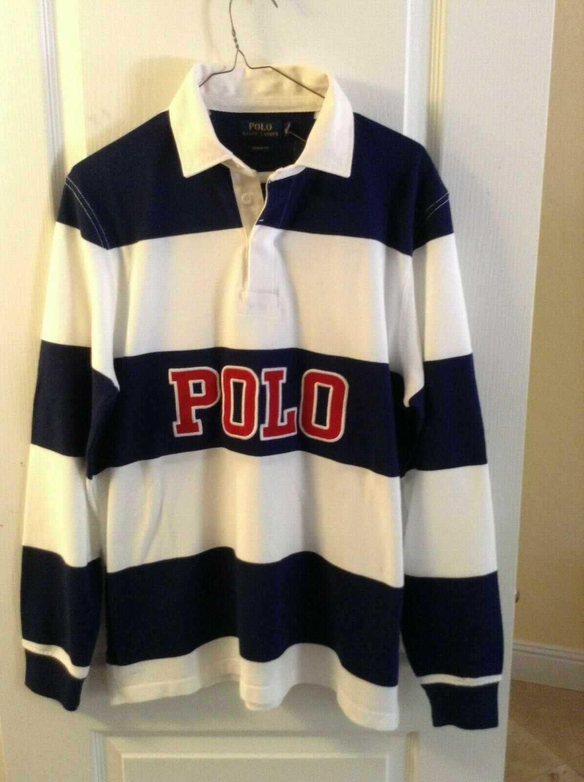 72953c1b Polo Ralph Lauren Men blueE WHITE Stripe Iconic Rugby Classic Fit Polo Shirt  M