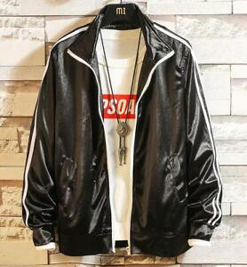 Womens-Korean-Style-Student-Sport-Jacket-Trendy-Coat-Oversize-Loose-Shiny-Jacket