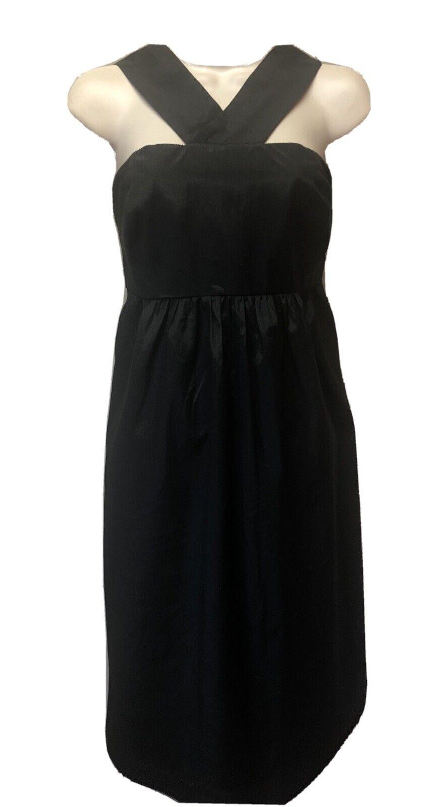 New The Limited Event Women's 8 Black Satin Empire Waist Sleeveless Halter Dress