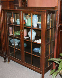 Image Is Loading Antique Mission Oak Curio China Cabinet Arts And