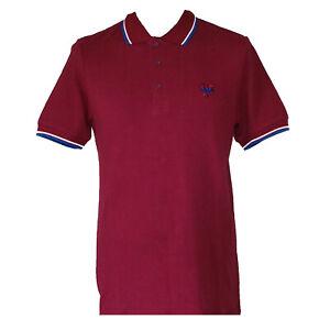 Rare Warrior UK England Bordeaux Slim Fit Soul 45 Polo Shirt 100% Cotton 4XL