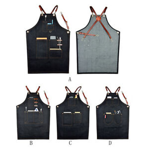 Women-Men-Denim-Work-Shop-Bib-Aprons-Costume-Apron-Multifunction-With-Pockets