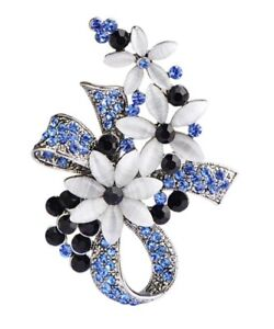 BROOCH-Vintage-Blue-White-Flower-Knot-Rhinestone-Pin-on-Brooch-Gift-for-Mum
